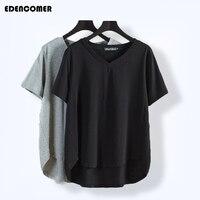 Plus Size Spring T Shirts 2017 New Large Size Women Grey Black T Shirt Collar Female