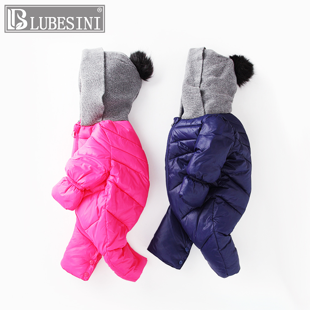LUBESINI NEW Baby Rompers Winter Thick Warm Down jacket Baby boy Clothing Long Sleeve Hooded Jumpsuit Kids Newborn Outwear winter baby rompers organic cotton baby hooded snowsuit jumpsuit long sleeve thick warm baby girls boy romper newborn clothing