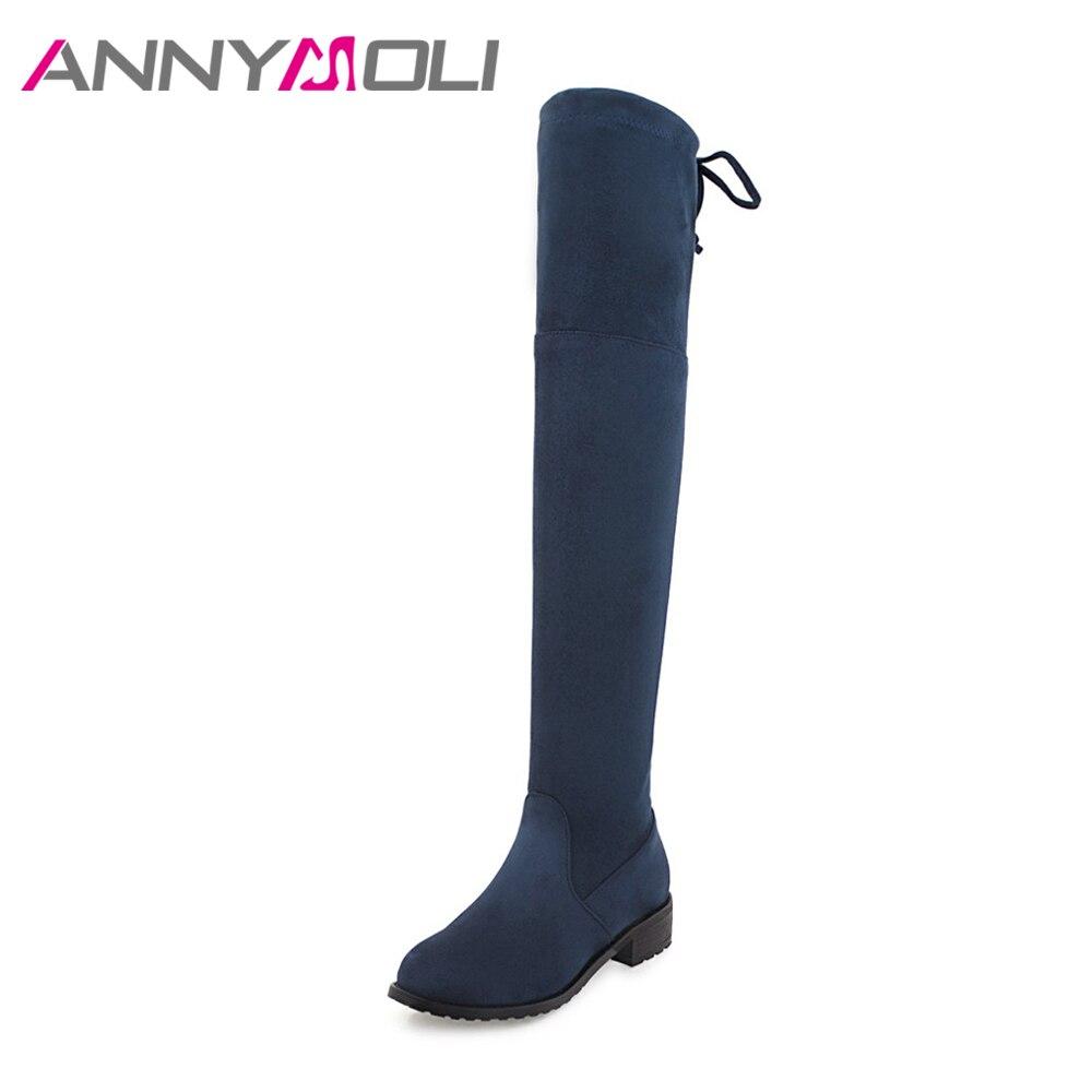 ANNYMOLI Inverno Botas Mulheres Sobre O Joelho Botas Flat Quentes Fino estiramento Na Coxa Botas Altas Lacing Sapatos 2017 Plus Size 45 Azul vermelho