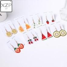XZP Leopard Print Multi-Color Acrylic Acetic Acid Drop Earrings for Women Girl Personality Simple Geometric Pendant