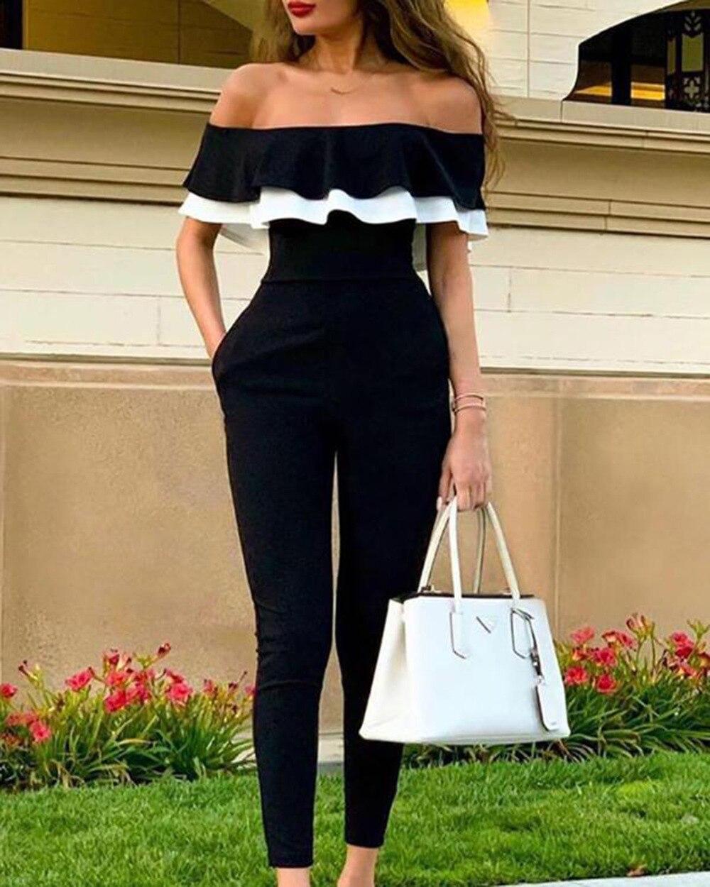 Fashion kalten schulter sexy lange body sommer schwarz voller länge sexy overalls für frauen dame overalls 640