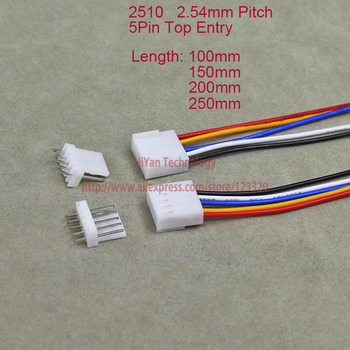 500sets 2510 2.54mm Pitch Top Entry 5Pin Connector 100mm To 250mm with 1007 26AWG Electronic Wire Cable 5A Pin Header