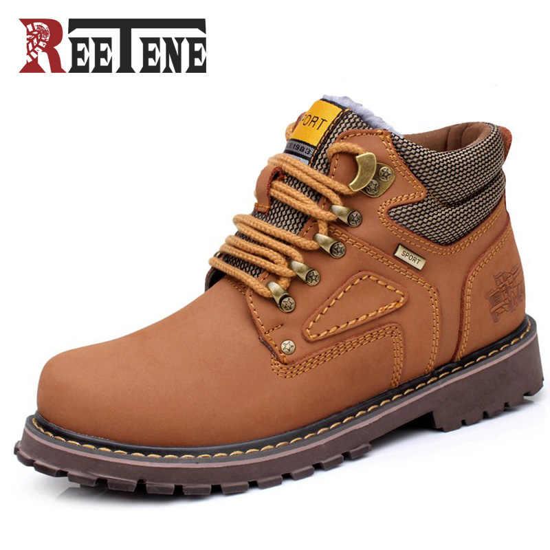 Reetene зимние мужские ботинки высокого качества из натуральной кожи, мужские  ботинки для работы и 96dae395b7b