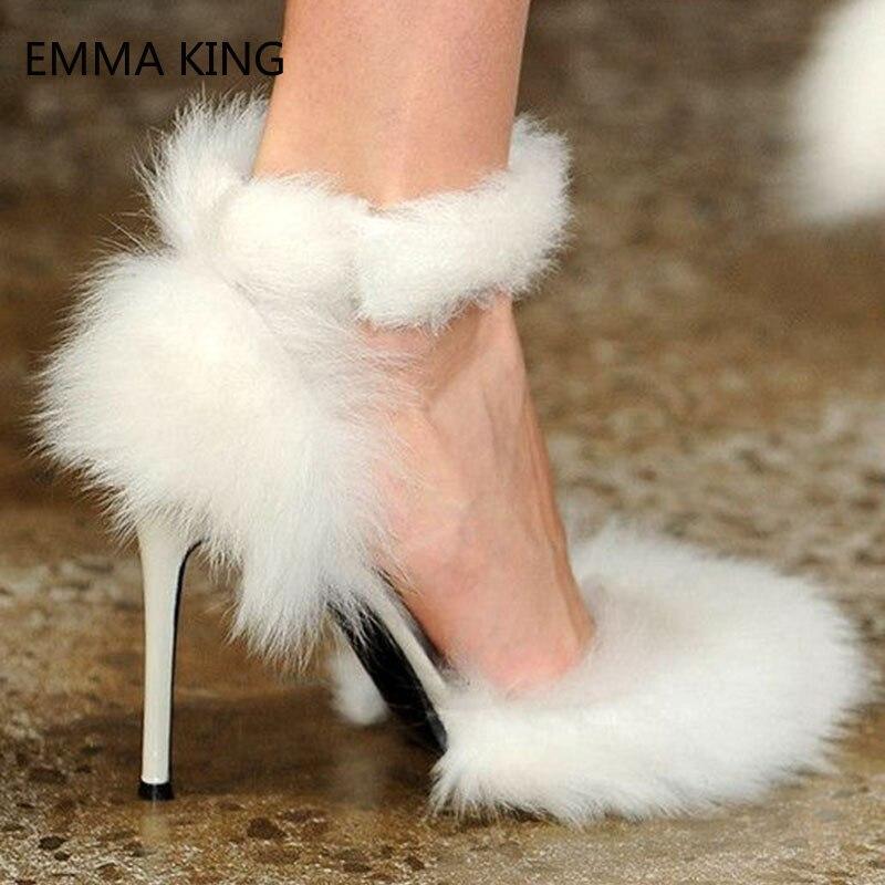 2019 nuevas bombas de piel de tacón alto sandalias de gladiador mujeres sexys puntiagudos sólidos zapatos de señora modelo de moda Zapatos de fiesta de pasarela