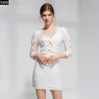 Casual White sexy Open chest Mini dresses Puff Sleeve Flower embroidery bandage dress square neck backless Summer cotton dress M