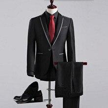 New Arrival men suits High Quality groom Wedding suits Single Button Casual Suit Black Men's Business Suits(jacket+pants)