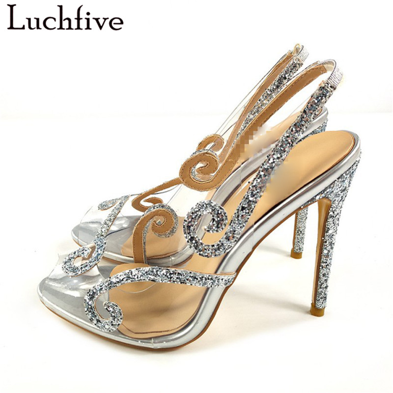 Sexy Glitter Clear Sandals Thin High Heels Peep Toe Transparent Shoes Woman Summer Sexy BlingBling Slingbacks Party Shoes