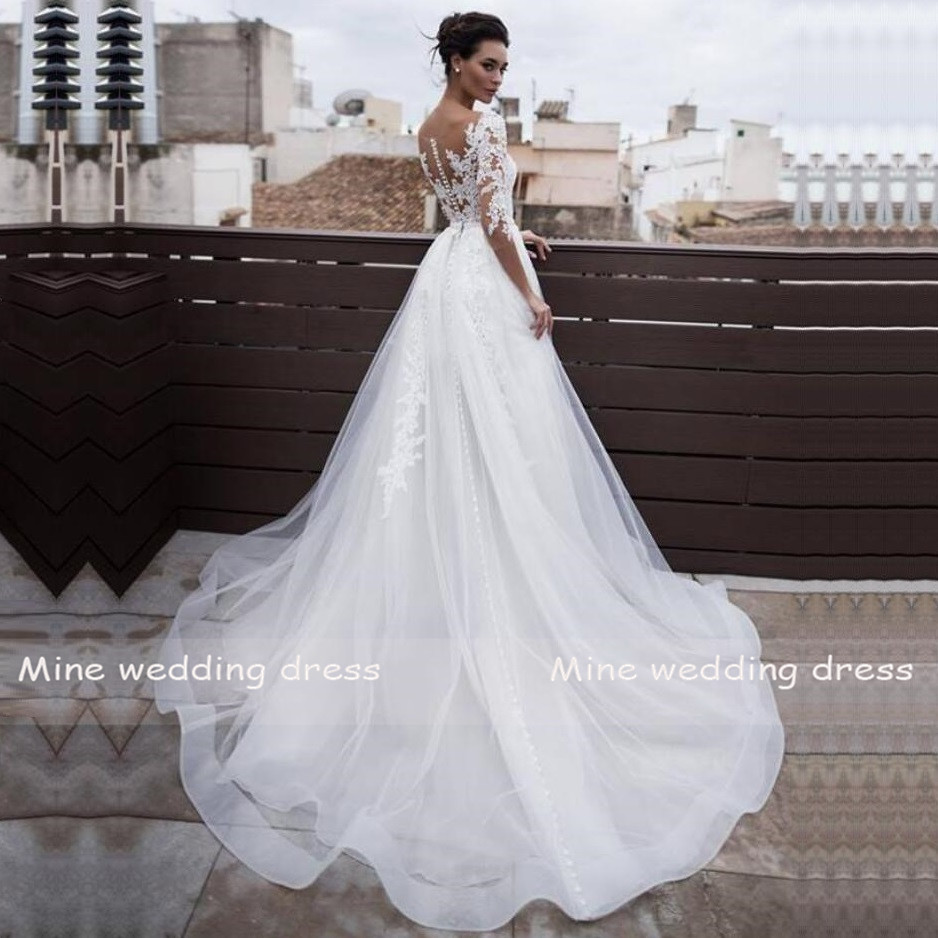 US $166.166 166% OFFThree Quarter Sleeves Bridal Dress 166 In 16 Wedding Dresses  With Detachable Skirt Lace Appliques Vestidos de Noiva