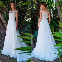 ชีฟอง Scoop คอยาว A Line ชุดแต่งงานลูกไม้ Appliques Beach ชุดเจ้าสาวยาว vestido De Noiva