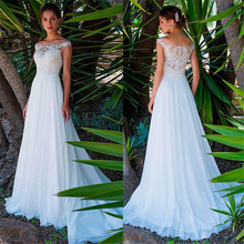 Vestido De novia largo y elegante De gasa, cuello redondo, corte en a, con apliques De encaje, para playa