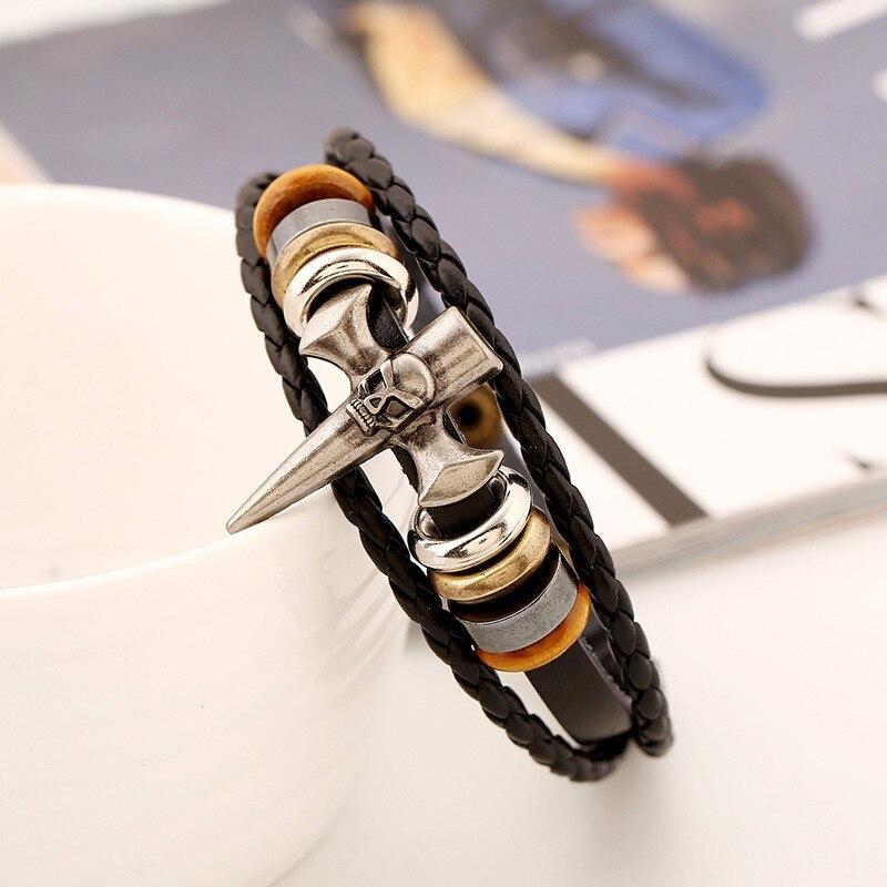 Bracelet tête de mort pic squelette croix Viking