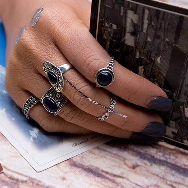 5 PCS Vintage Ring Sets Antique Alloy Nature Blue Stone Midi finger Rings for Wo