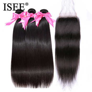 ISEE HAIR Peruvian Straight Hair Bundles With Closure Remy Human Hair Bundles With Closure 3 Bundles With Closure Nature Color - DISCOUNT ITEM  47% OFF All Category