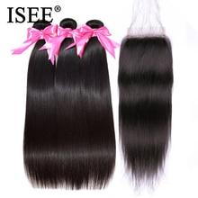 خصلات شعر مستقيمة من بيرو ISEE مع خصلات شعر بشري ريمي للإغلاق مع 3 حزمات بغلق بلون طبيعي