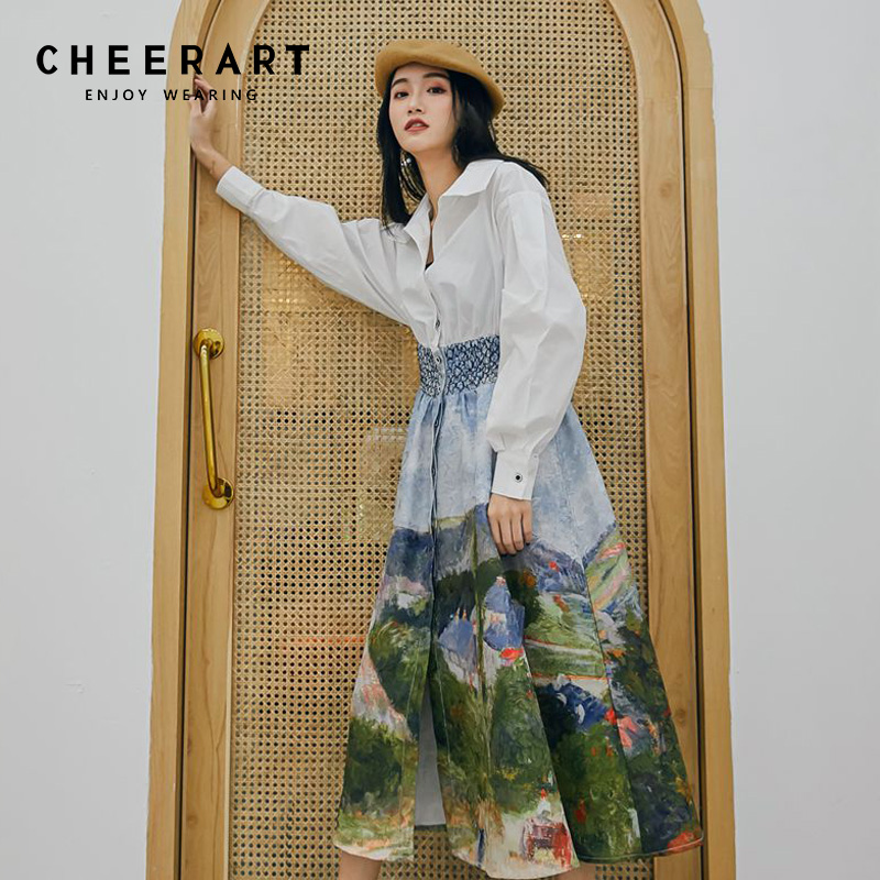 92f8c9f10b08c Cheerart Spring Long Midi Dress Women Tunic Shirt Dress Long Sleeve A Line Floral  Print Elegant