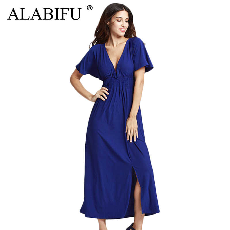 ALABIFU Spring Summer Dress Women 2019 Casual Plus Size Ball Gown Dress  Vintage Sexy Split Long 1042f83671e9