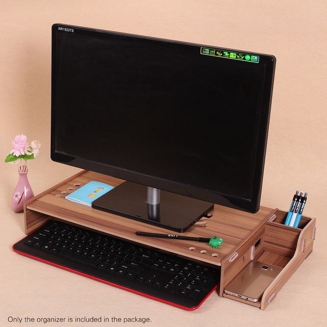 Wood Computer Monitor Stand Riser Laptop Shelf Desk