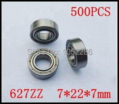 500pcslot  high quality  627ZZ miniature radial ball bearing 627 627Z  627-2Z shielded deep groove ball bearings 7*22*7mm