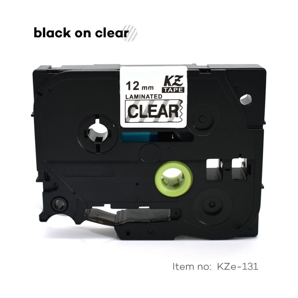 CIDY 20pcs lot Tze 131 TZ 131 TZ131 TZE131 Black on Clear Laminated Label Tape Compatible