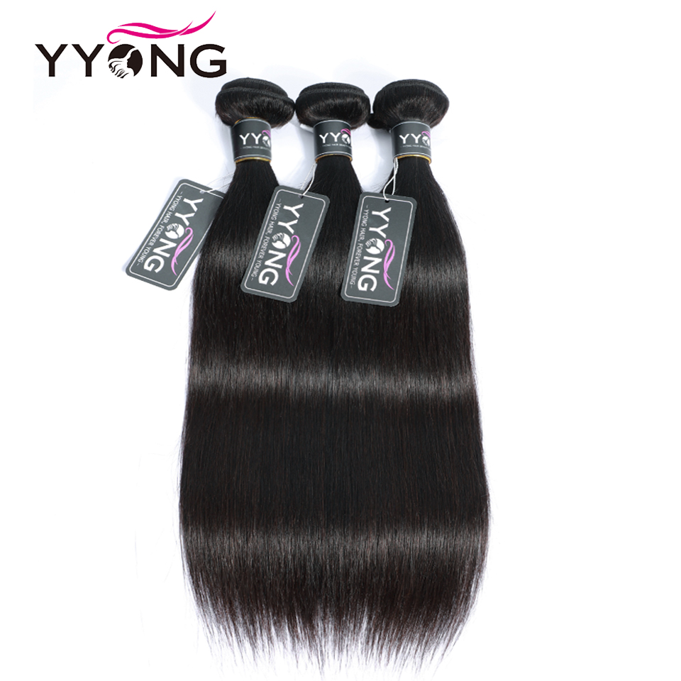 "Yyong Brazilian Straight Bundles 100% Human Hair Non Remy Hair Weave 3 Bundles Natural Color 8""-26"" Hair Extensions On Sales(China)"
