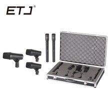 ETJ Marca Profissional 5 Peça Drum Kit Microfone Instrumento de Percussão Tambores Guitarra Bronze 5C