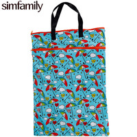 Simfamily 1PC Reusable Waterproof Large Hanging Cloth Diaper Wet Dry Bag Double Pocket Cloth Handle