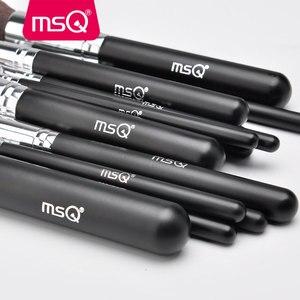 Image 4 - MSQ 15pcs Pro איפור מברשות סט קרן צלליות סומק ערכת מברשת באיכות גבוהה סינטטי שיער עם עור מפוצל מקרה