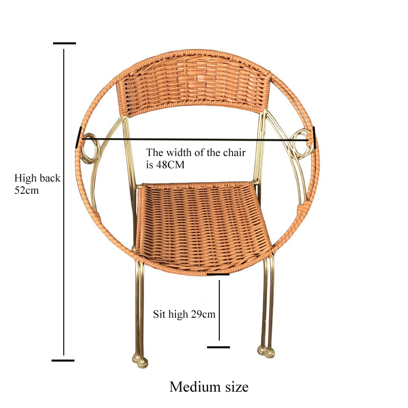 Leewince Furniture Rattan Indoor Outdoor Restaurant Stack Small Chair  Armchair All Weather Outdoor Patio Garden Chairs In Garden Chairs From  Furniture On ...