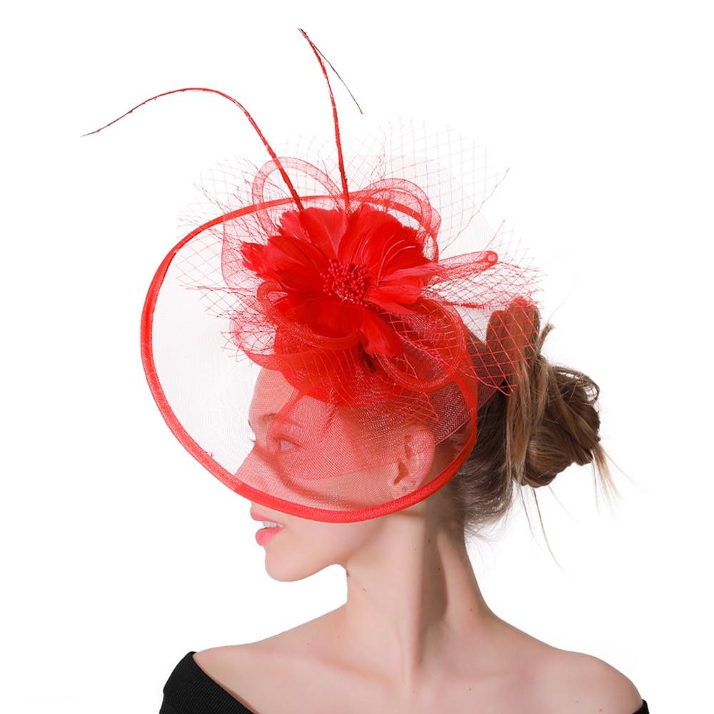 Cocktail Semicircular Mesh Hat Headband Party Handmade Women Headwear Feather