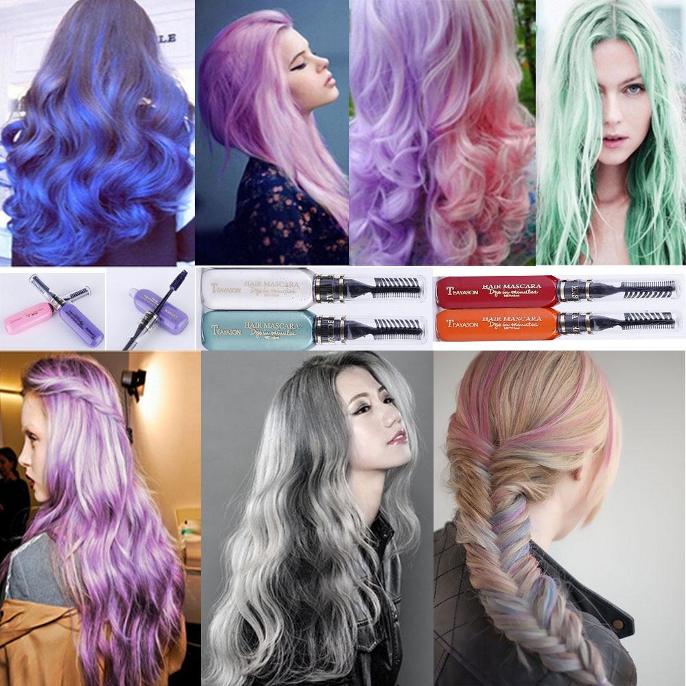 TEAYASON Professional Hair Color Kits Long Lasting Hair Dye One Time Hair Wax Blue Purple Pink Grey Hair Color Mascara AM024