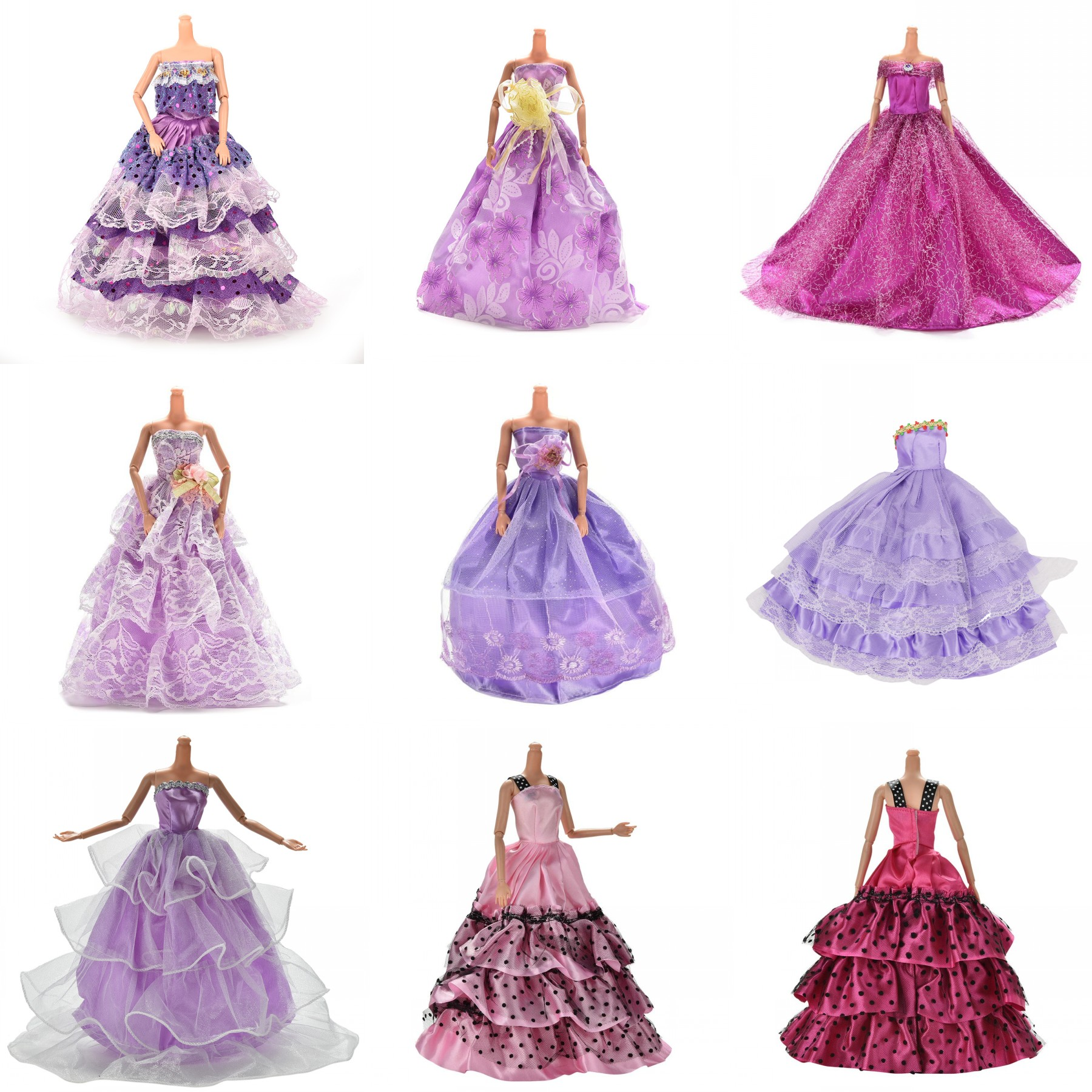 Purple Elegant Handmade Wedding princess Dress Doll Floral Doll Dress  Clothes Clothing Multi Layers Dolls Accessories 52b3a51fba3e