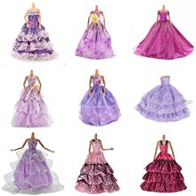 Purple Handmade Wedding Dress Princess Evening Party Ball Long Gown Skirt Bridal Veil Clothes For Babi Doll Accessories Gift Toy(China)