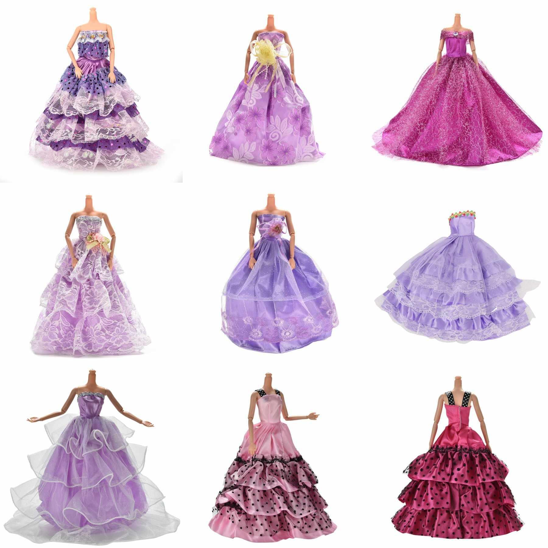 Vestido de novia morado hecho a mano, vestido de princesa para fiesta de noche, vestido largo, falda, velo de novia, ropa para muñeca Babi, accesorios de regalo de juguete