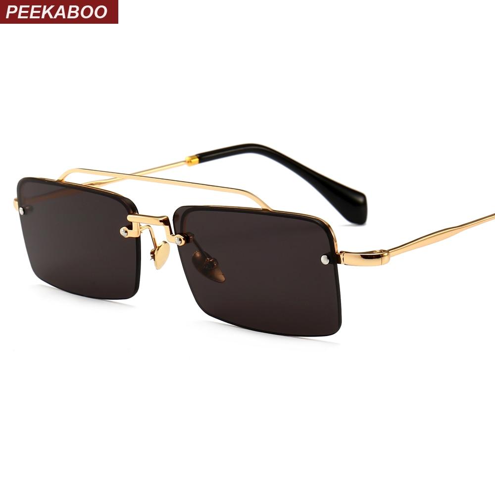 Peekaboo retro rectangle <font><b>sunglasses</b></font> men metal frame gold <font><b>brown</b></font> red semi rimless square sun glasses for women 2018 summer