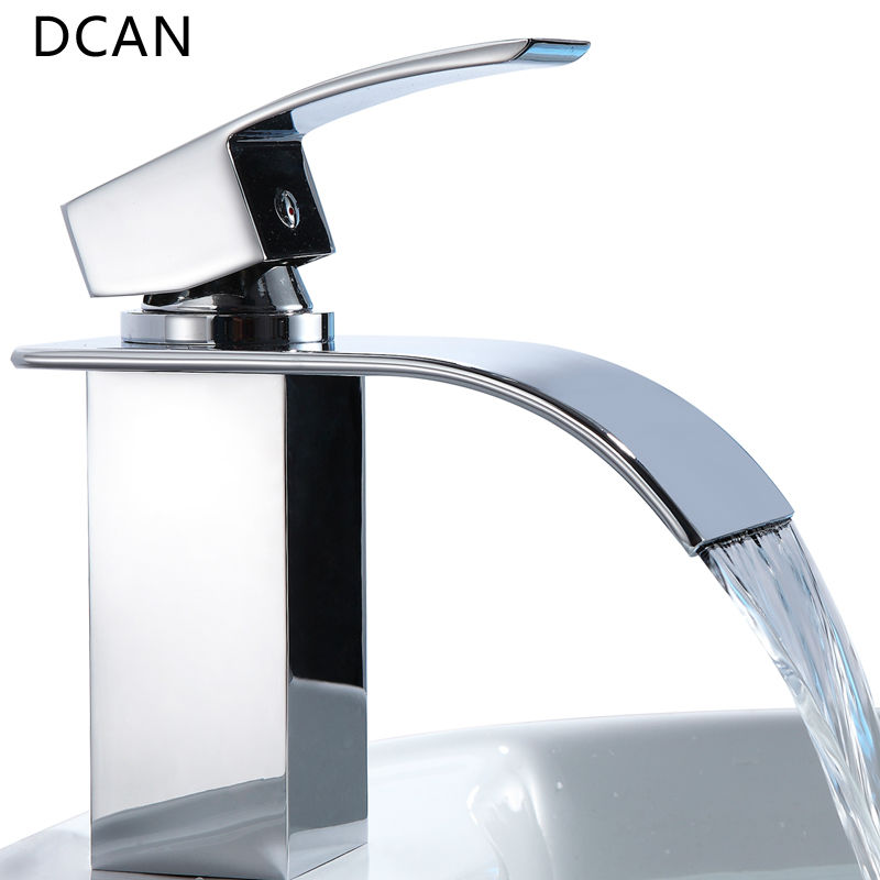 DCAN Bathroom Sink Faucets Waterfall Sink Faucet Chrome Single Handle Single Hole Hot & Cold Mixer Taps Widespread Basin Faucets flg basin faucets modern orb bathroom faucet waterfall faucets single hole cold and hot water tap basin faucet mixer taps