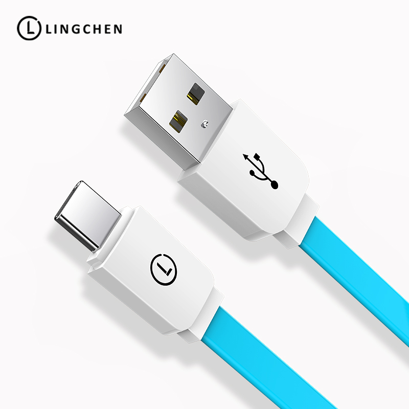 LINGCHEN Flat USB Type C Cable for Galaxy S9 S8 Note 8 USB-C Type-c Charger Cable For Xiaomi 6 Mi5 Huawei P10 P9 Oneplus 3 Nexus