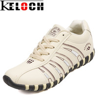 Keloch Fashion Breathable Leather Women Casual Shoes Lace Up Woman Flats For Female Outdoor Summer Walking