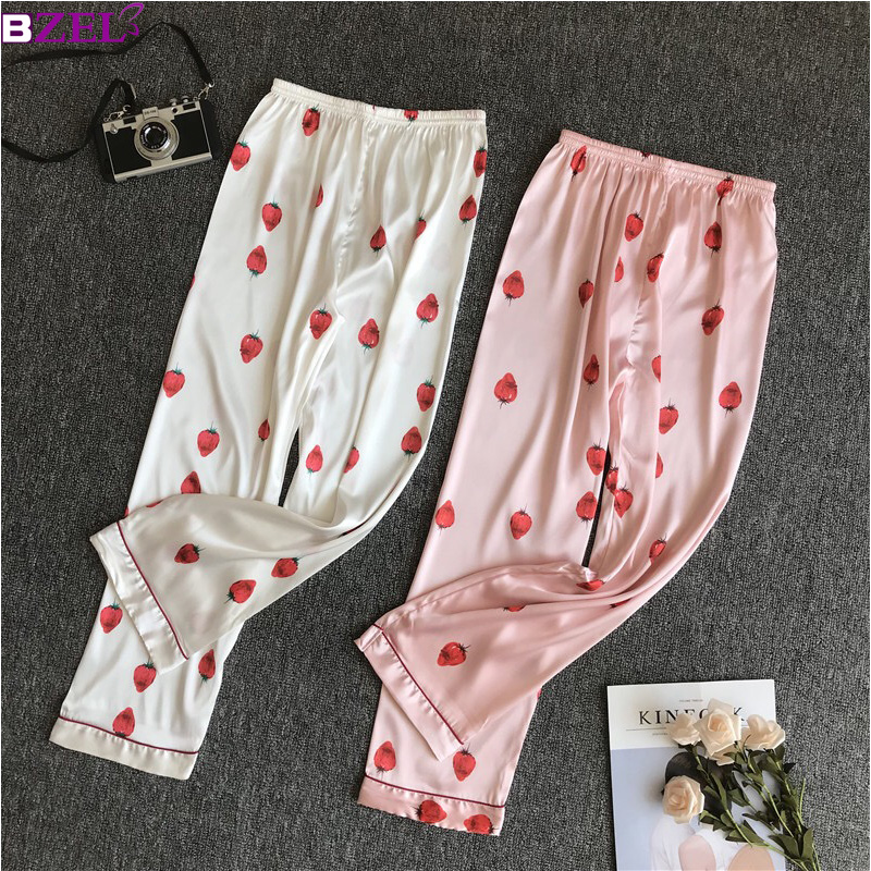 f04912dcf76c Hot Sale Pink White Women Satin Sleep Bottoms Sexy Trousers Elastic ...