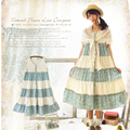Primavera verão mulheres sweet harajuku bordado mangas ruffle lolita japonês kawaii bonito feminino dress mori menina vestido c069