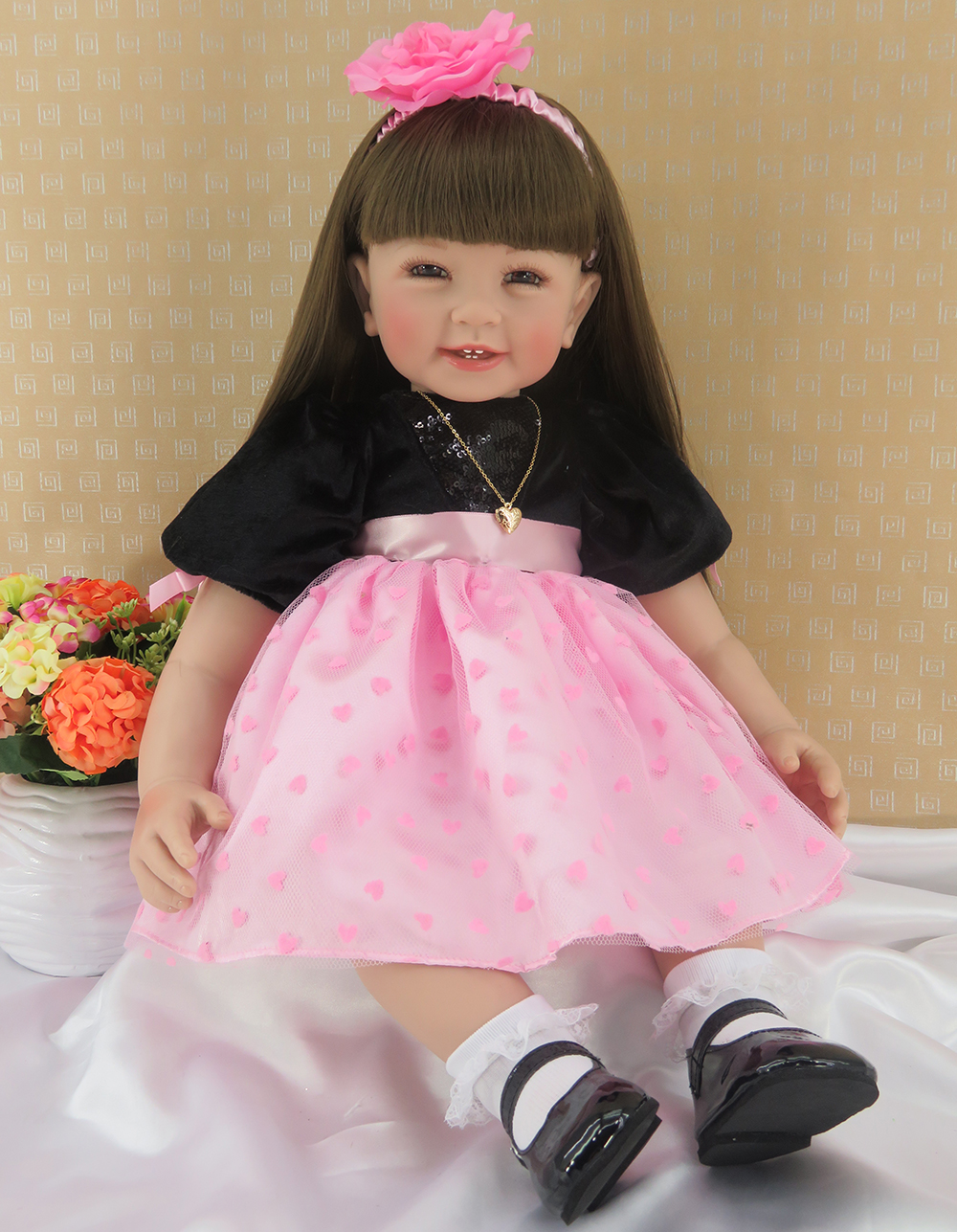 Pursue 24/60 cm Mouth Open Silicone Reborn Toddler Baby Girl Doll Toy Princess Doll Toys for Birthday Holiday Gift Bedtime Play silicone reborn toddler baby doll toys for girl 52cm lifelike princess dolls play house toy birthday christmas gift brinquedods