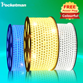 1Set Waterproof IP67 led Ribbon 5050SMD AC220V LED Strip light Tape 1M/2M/3M/4M/5M/6M/7M/8M/9M/10M/15M/25M With EU Power Plug