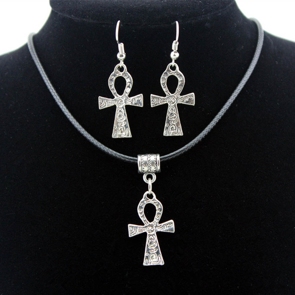 1 set Egyptian Symbol Of Life Cross Pendant Necklace Women Amulet Necklace Earrings Jewelry Sets