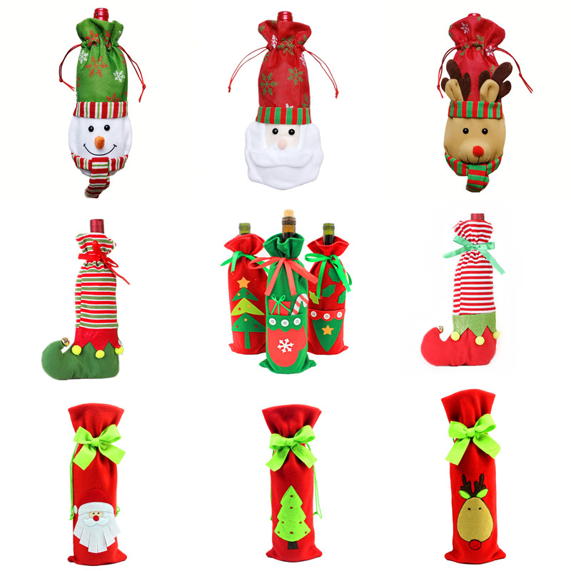 Xmas Gift Bag Santa Claus Snowman Elk Clown Tree Gift Bags Christmas Red Wine Bottle Cover Dining Table Party XMAS Gift Supplies