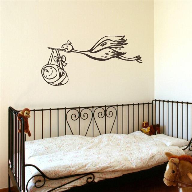 Stork Baby Nursery Child Wall Bedroom Mural Sticker Transfer Vinyl Decal