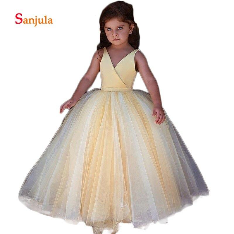 Yellow Satin Top Princess Flower Girls Dresses V Neck Tank Ball Gown ...