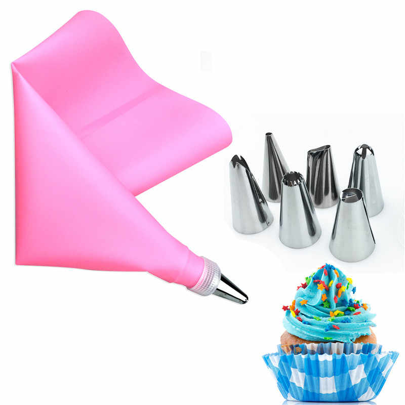 VOGVIGO 8 PCS/Set Silicone Kitchen Accessories Icing Piping Cream Pastry Bag 6 Stainless Steel Nozzle Set DIY Cake Decor