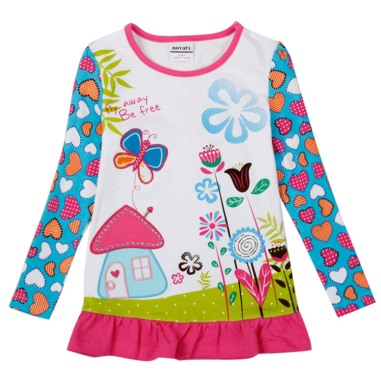 novatx F6198 retail high quality t shirt kids girl long sleeves clothes children floral design toddler girls top wears retail design children clothing set for kids girl dark blue cardigan t shirt pink skirt high quality 2014 new free shipping