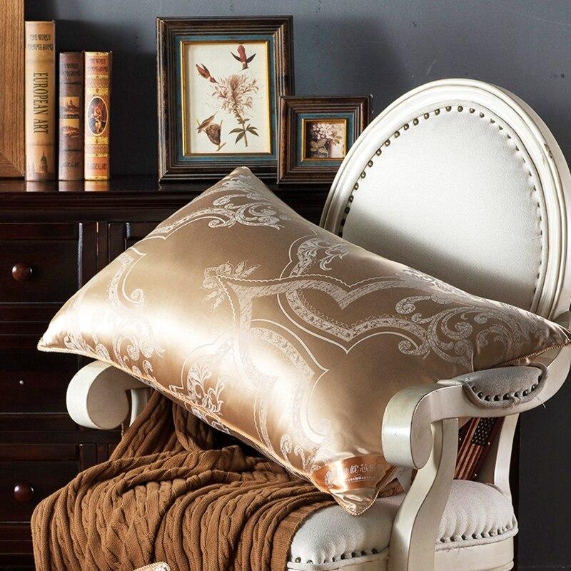 100% Seta Di Gelso Biancheria Da Letto Cuscino/Testa Di Lusso In Oro Rosa Naturale Sleepping Cuscini di Riempimento Materiale Stile Europeo Nave Libera