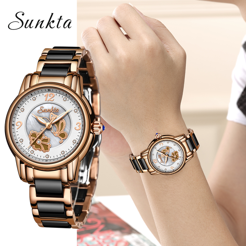 SUNKTA2019 Listagem do Novo Subiu Mulheres Relógios de Ouro Relógio de Quartzo Das Senhoras Top Marca de Luxo Relógio Relogio feminino Relógio Feminino Da Menina + caixa