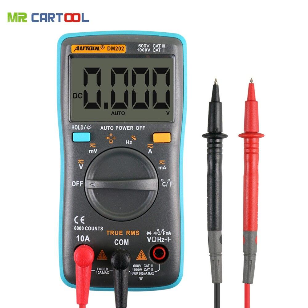 Prix pour Autool dm202 portable autoranging multimètre numérique 6000 points rétro-éclairage ac/dc ampèremètre voltmètre ohm mètre portatif zt102